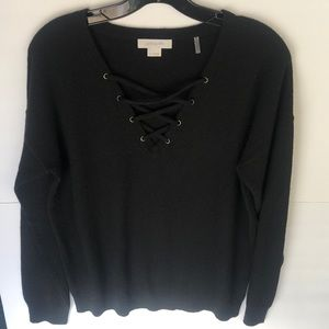 Christopher Fischer Black Lace Up Casmere Sweater